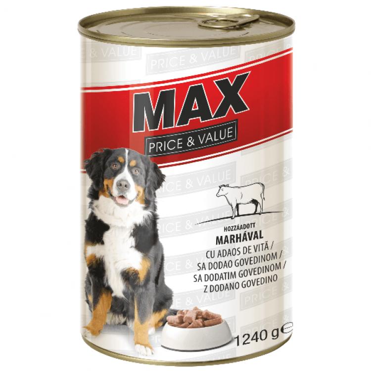 MAX / Hrană umedă câini cu vită - 20 bucati