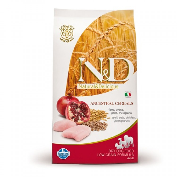 2 x N&D Low Grain Adult Medium Pui si Rodie - 12 Kg
